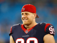 Aug 9, 2017; Charlotte, NC, USA; Houston Texans defensive end J.J. Watt (99) stands on the sidelines during the second half against the Carolina Panthers at Bank of America Stadium. Mandatory Credit: Jeremy Brevard-USA TODAY Sports